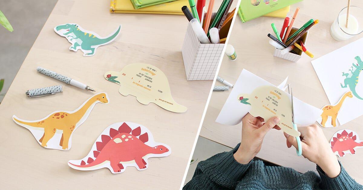 dinosaurier-einladungskarten   diy-bastelideen esistmeins