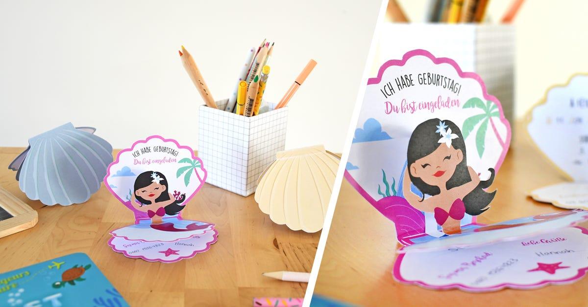 Für kleine Meerjungfrauen: Bastel ganz einfach tolle Einladungskarten zum Geburtstag nach, um alle Freunde deines Kindes auf die nächste Party einzuladen!
