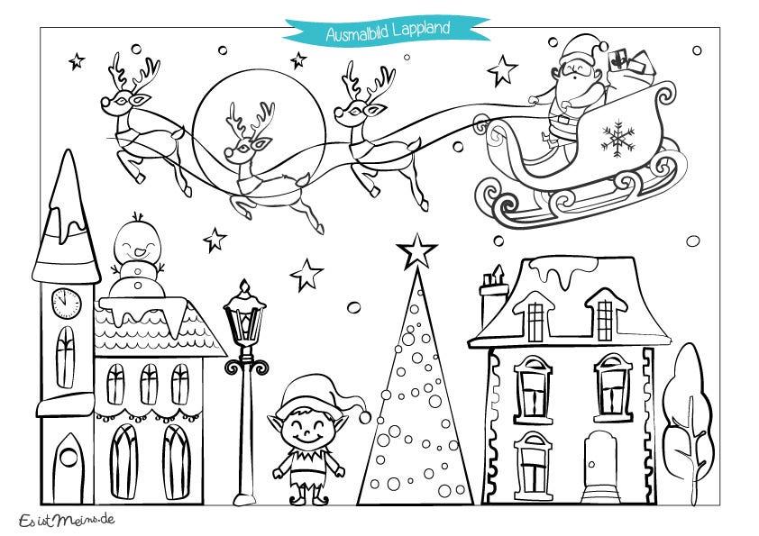Laden Sie gratis unsere Weihnachts-Malvorlagen zum Thema Lappland hoch, damit Ihre kleinen Wichtelmänner dem Weihnachtsmann schöne Bilder schenken.
