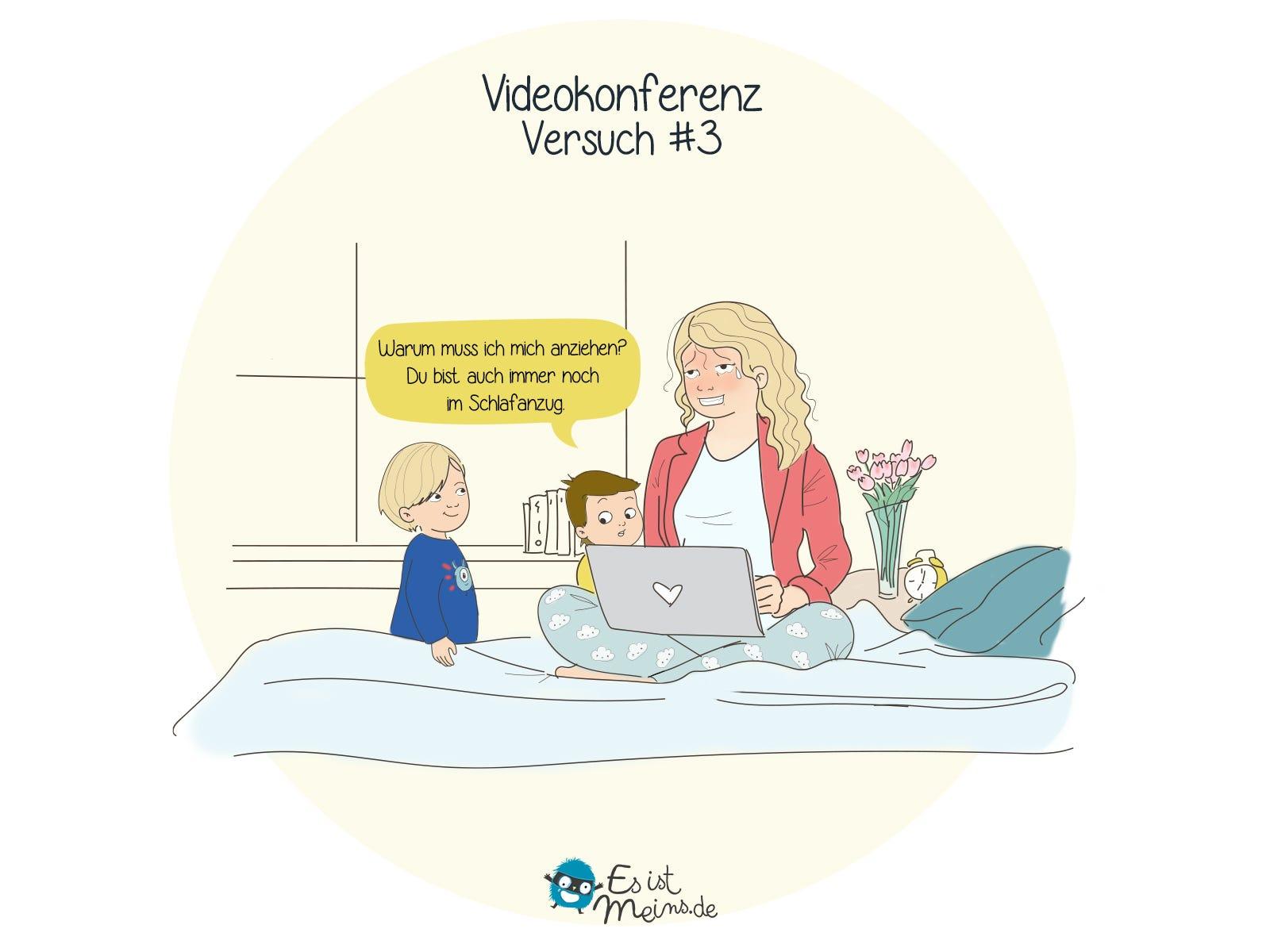 Videokonferenz mit Kindern: Versuche im Wohnzimmer dann in der Küche… Wir probieren das Schlafzimmer!