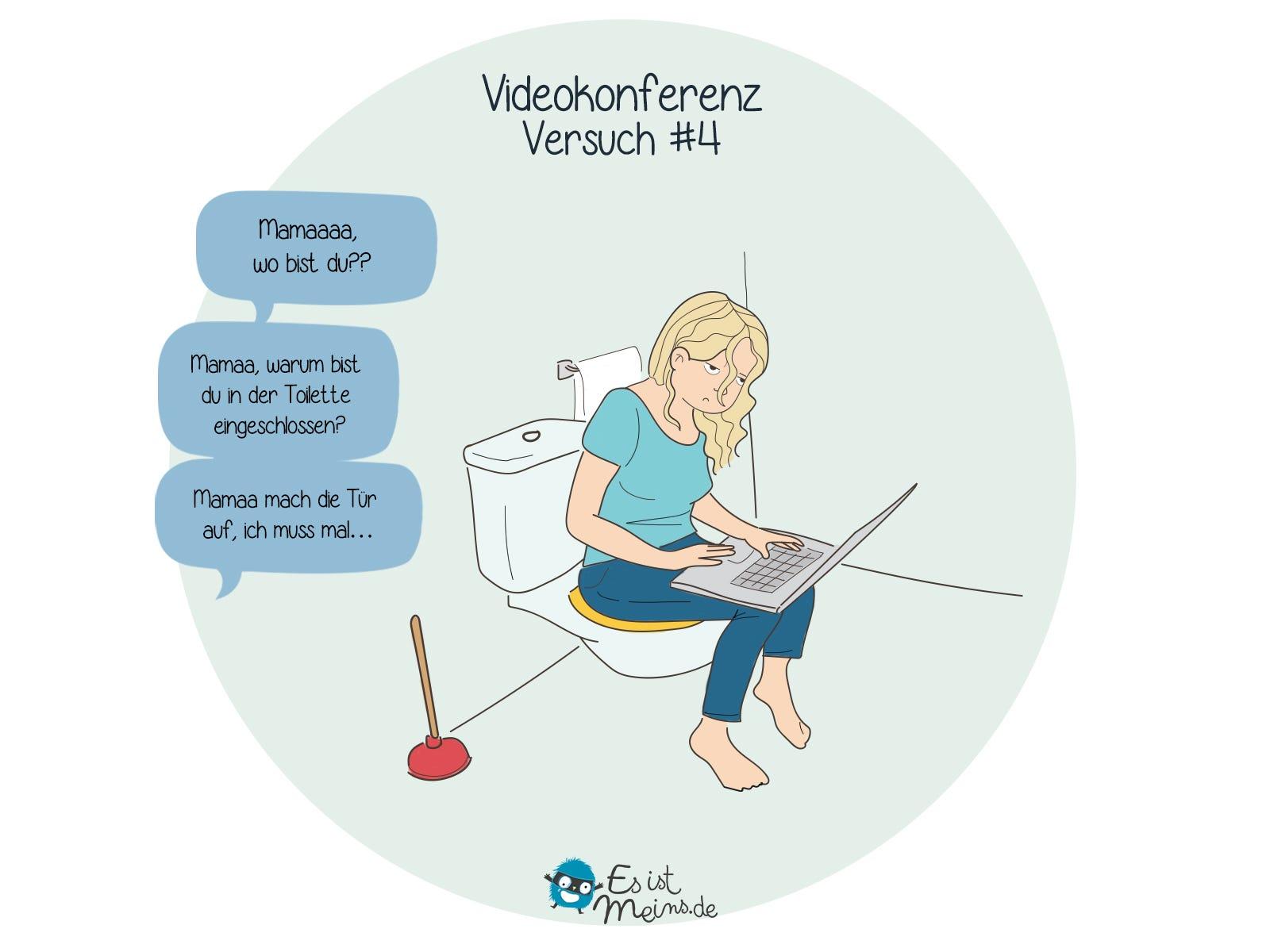 Videokonferenz mit Kindern, das Ziel ist Ruhe. Fortsetzung und Ende aus dem Badezimmer!
